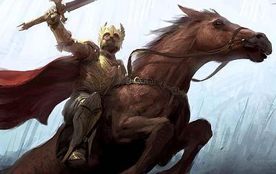 Cuadro ecuestre del gran rey Eldacar, vencedor de la batalla de los cruces del Erui